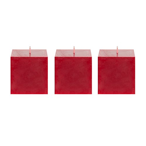 Mega Candles 3 pcs Unscented Red Square Pillar Candle | Hand