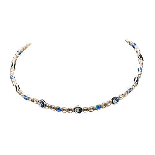 Fimo Star (Hemp Choker Necklace with Clear and Blue Glass Beads and Moon and Star Fimo Disc)