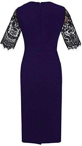 Jeansian Mujer Vintage Elegant Manga de Eencaje Stitching Business Office Lady Bodycon Vestido WHS462 Royalblue