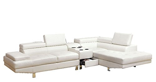 GREATIME S1004 Modern Sectional Sofa with Speaker Console