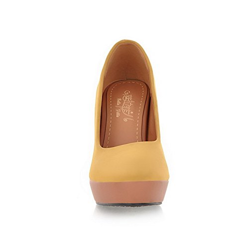 Pumps Suede Imitated Toe High Round Womens Solid Shoes AmoonyFashion Pull on Closed Heels Yellow qZtYPH