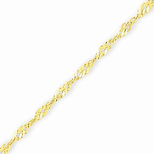 10k Gold Solid Diamond-cut Singapore Chain Bracelet with Lobster Clasp (1.6mm) - Yellow-Gold, 7 in