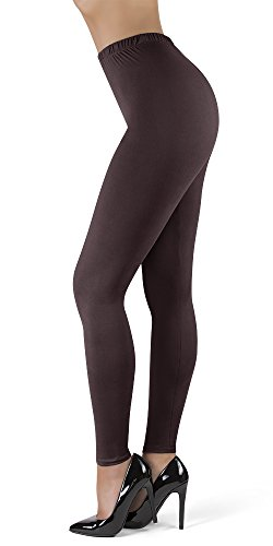 (High Waisted Leggings for Women | Full Length w/Stretch Waistband | Ultra Soft Opaque Non See Through Super Soft Leggings (OneSize, Brown))