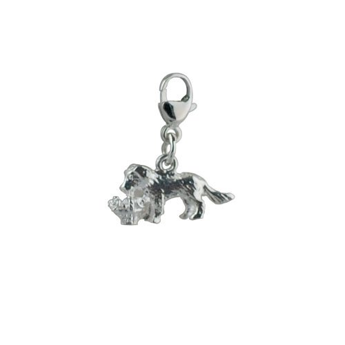 Silver 18x16mm Puppy carrying a basket of flowers Charm on a lobster trigger