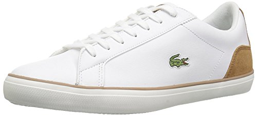 Lacoste Men's Lerond Sneakers,WHT/Ltbrw Leather,9.5 M US (Shoes Lacoste Dress)