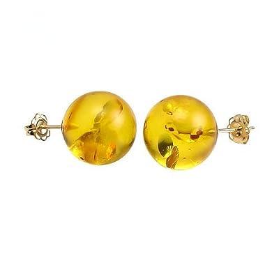Trustmark 14K Yellow Gold 10mm Natural Baltic Honey Amber Ball Stud Post Earrings, Anya hot sale