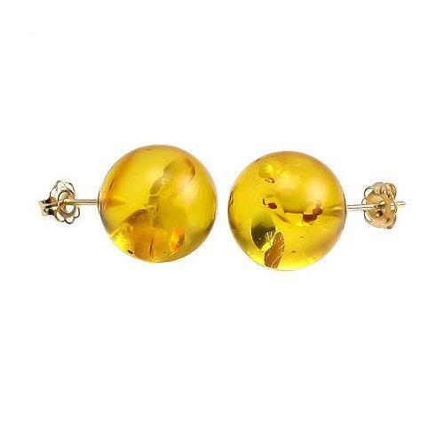 Trustmark 14K Yellow Gold 10mm Natural Baltic Honey Amber Ball Stud Post Earrings, Anya