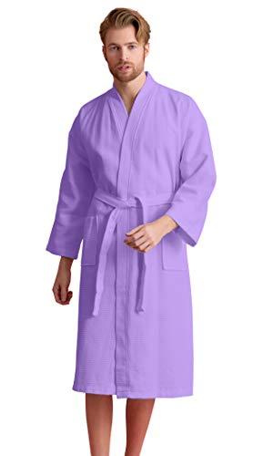 Men's Robe, 100% Turkish Cotton Long Waffle Spa Bathrobe, Diamond Pattern (XX-Large, Lavender) ()