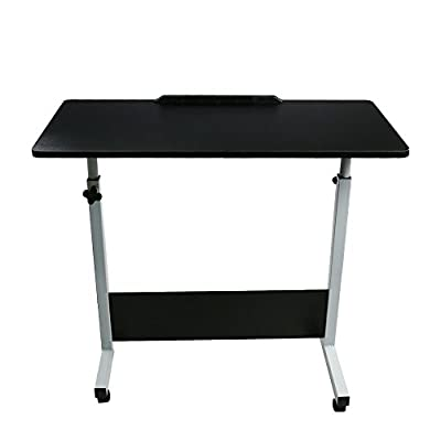 Adjustable Laptop Cart, Home Portable Movable Height Adjustable Folding Sofa Side Table Simple Couch Table Bedside Table Mobile Compact Reading Drafting Drawing Computer Stand Tray Desk