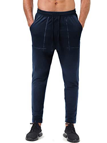 DAIKEN Men's Jogger Sweatpants 100% Cotton Casual Athletic Workout Running Gym Pants with Pockets Dark Blue