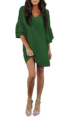 - Grace's Secret Womens Dress Cute V-Neck Bell Sleeve Shift Dress Mini Tunic Dress Casual Summer Green