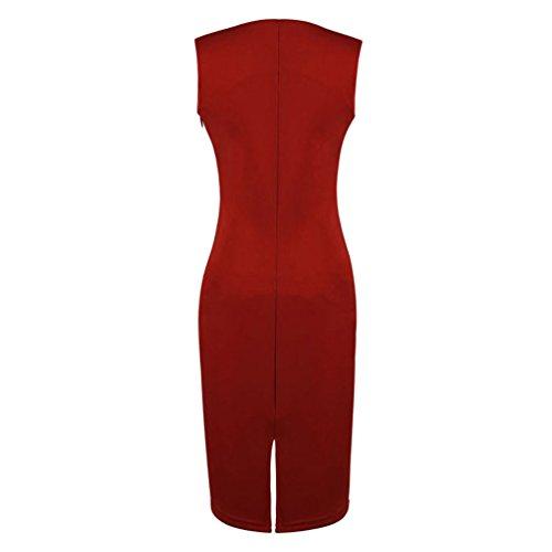 Wenseny Mujer PEB Sin Mangas El Vestido Del Lápiz Vestido De Noche Rojo