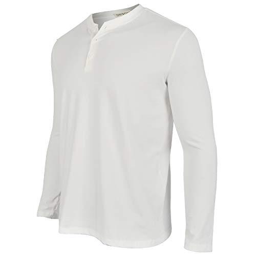 Men's Casual V-Neck Long Sleeve Fashion Lightweight Sports Outdoor Slim Fit Henley T Shirts Baseball Clothing Cotton Autumn Tee Shirts (Long White, XXXL)