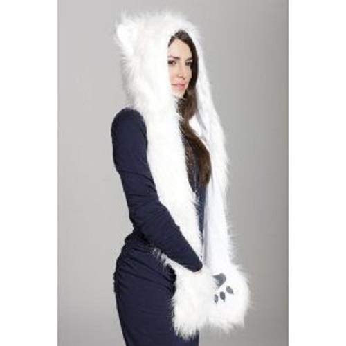 White Wolf Spirit Hood Paws Ears Faux Fur with Mittens and Scarf Attached ()
