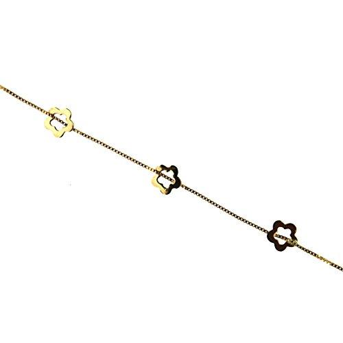 18K yellow gold open flower bracelet 5.8 inch by Amalia (Image #2)