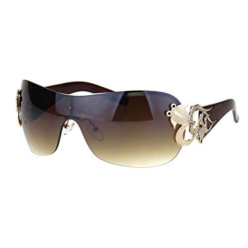 Shield Brown Lens - Womens Coy Metal Jewel Designer Fashion Shield Warp Sunglasses (Rimless Gold Brown, 2.75)