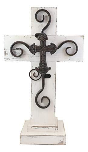 Ebros Gift Rustic Western Distressed Wood White Standing Cross Statue with Iron Metal Scroll Fleury Cross 3D Art Desktop Vintage Decor Sculpture 16.25