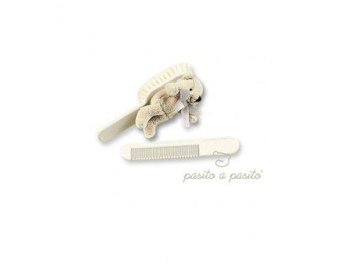 Assort. 6 x brosse + peigne ours beige Pasito A Pasito