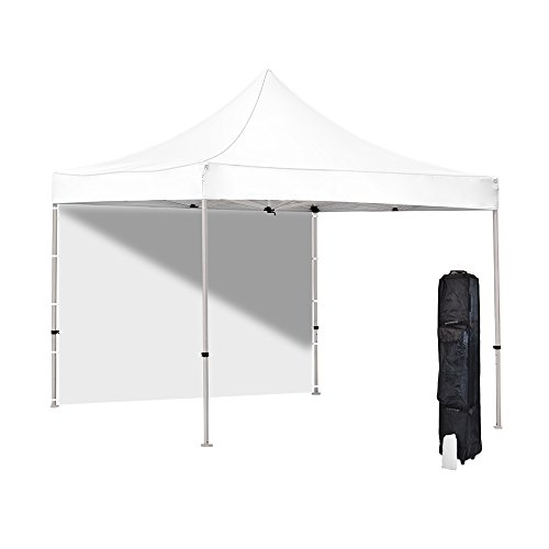 Vispronet - White 10x10 Pop-up Canopy Tent - Commercial Grade, Resists up to 25mph Wind Gusts - Includes 1 Removable Sidewall, Roller Bag, and Stake Kit - Steel Hexagonal Frame - 4 Color Options
