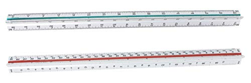 Architectural Scale Ruler for Blueprints and Engineering | Set of Two Aluminum Triangular Rulers - 1 Architect Imperial and 1 Engineer Scaled | Includes Protective Sleeves - 2 Pack by Noe & Malu (Image #1)