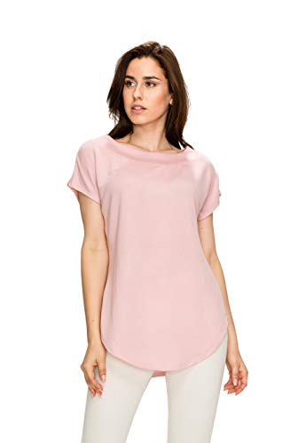 MBJ WT1907 Womens Boat Neck Dolman Short Sleeve Loose top S Indian_Pink
