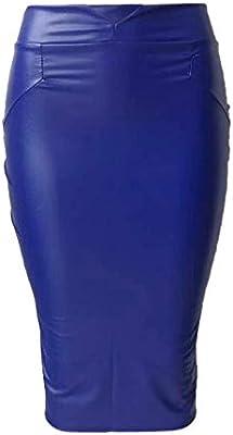 Falda Ajustada de Mujer Casual Falda lápiz de Cuero Cintura Alta ...