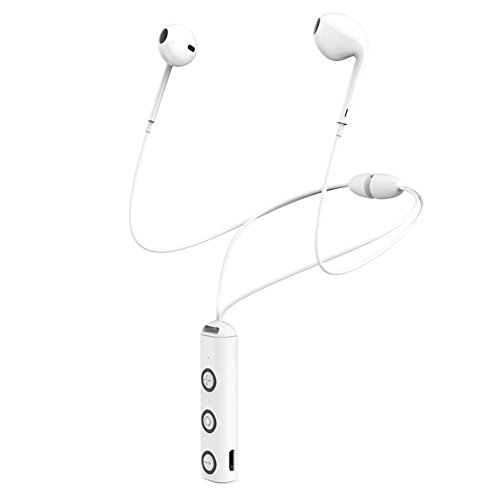 Chige Bluetooth Headphones, Wireless Sports Earphones Mic Waterproof HD Stereo Sweatproof In Ear Earbuds for Gym Running 5 Hours Battery Noise Cancelling Headsets (White)