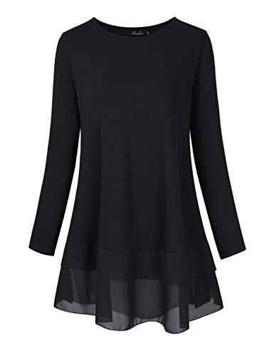 s Size Flowy Long Tops Chiffon Splicing Loose Blouse Tunic Dress Shirt Black XL ()