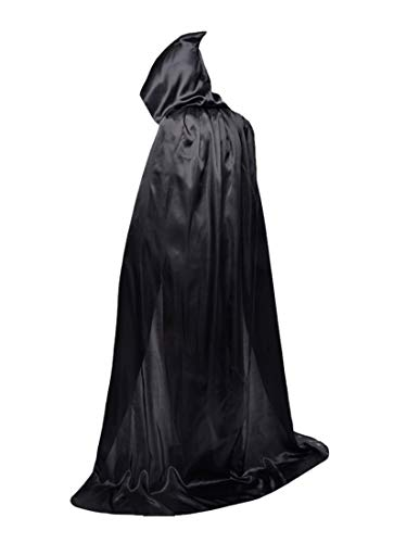 Beautifulfashionlife Men's Grim Reaper Hooded Cape Role Halloween Costume Black 150cm -