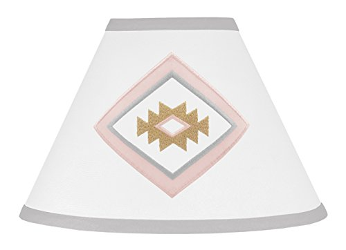 (Sweet Jojo Designs Blush Pink and Grey Boho Lamp Shade for Aztec Collection by)