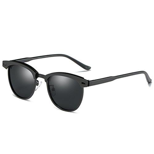 hombre gafas de gafas de de estilo vintage Ronda polarizadas UV400 Viaje Black negro Guía aluminio y sol gafas al de sol Mens TIANLIANG04 polarizadas en Rw4qH4z6