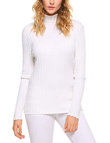 Abollria Women's Long Sleeve Solid Lightweight Soft Knit Mock Turtleneck Sweater Tops Pullover ()