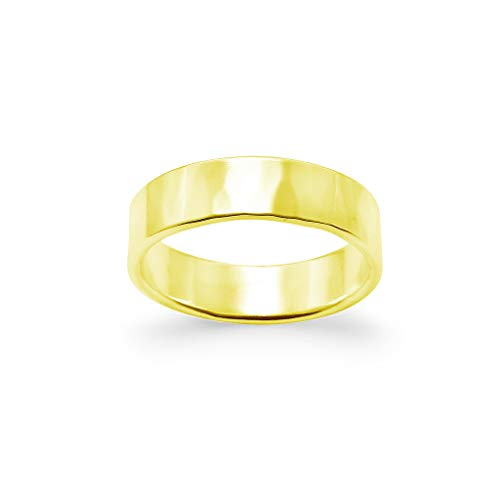 Hammered Polish Plain Comfort Fit Wedding Band Ring Sterling Silver, Size 10 ()