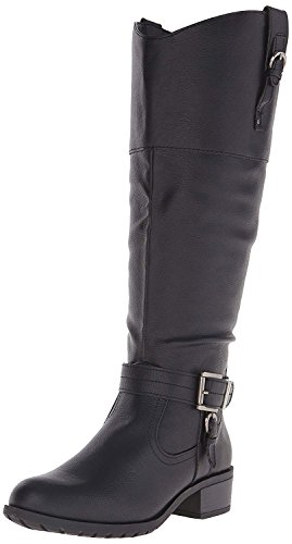 Image of Rampage Women's Ivelia Fashion Knee High Casual Riding Boot, Black Wide Calf, 9.5 M US