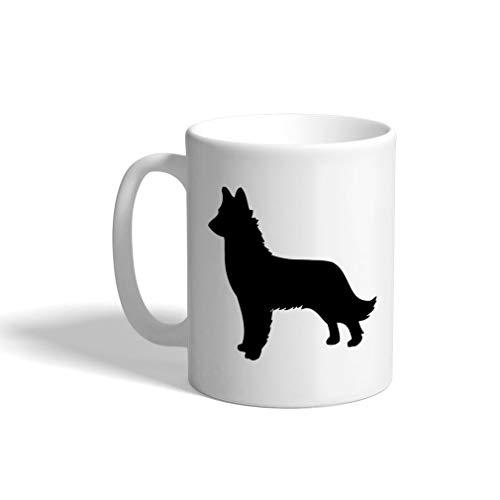 Custom Funny Coffee Mug Coffee Cup Belgian Shepherd (Malinois) Silhouette White Ceramic Tea Cup 11 OZ Design Only (Malinois Silhouette)