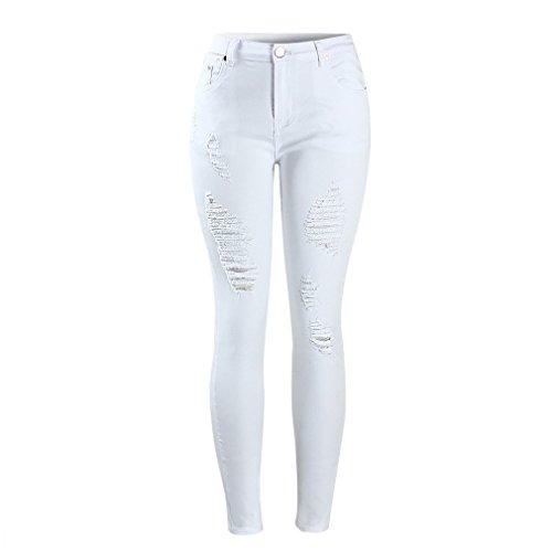 Donna Bianco High Curva Angosciate Strappati Pantaloni Skinny White Waist Stretch Jeans Per Jean Le Donne Mid wfOZOgq