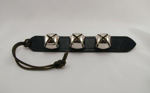 (Silver Sleigh Bell Black Leather Door Decoration Hanger 3 Bells)