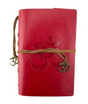 Diary Writing Creative Dream Journal Hand Tooled Leather Bright Red Om of Peace Gift (Romantic Boxed Leather)