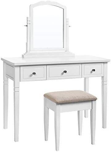 VASAGLE Vanity Set with 3 Big Drawers, Dressing Table with 1 Stool, Makeup Desk with Large Rotating Mirror, Makeup and Cosmetic Storage, Multifunctional, Easy to Assemble, White URDT106WT