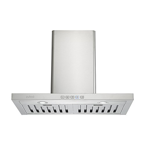 Zuhne Taurus 30 inch Kitchen Wall Mount Ducted/Ductless Stainless Steel Range Hood or Stove Vent with Energy Saving Touch Control & LED Lights