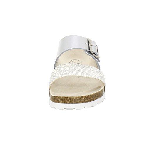 AFS-Schuhe 2145, Sportliche Damen-Pantoletten, Praktische Arbeitsschuhe, Hochwertiges, Echtes Leder, Verstellbare Bio-Pantoletten, Bequeme Hausschuhe, Made in Germany Silber
