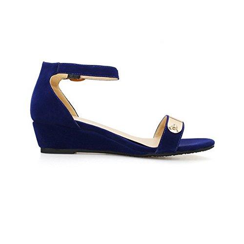 Sandales Talon Coin Femme Bas Ouverture Couleurs à à Bleu Zip Mélangées d'orteil VogueZone009 fOzn1q00