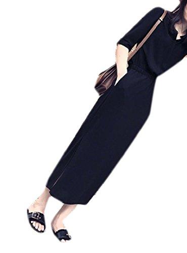Coolred-femmes Couleur Unie Simplicité Taille Hepburn Mince Robe Maxi D'été Noir
