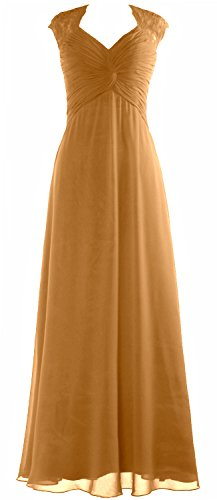 Women Party Dress MACloth Prom Sleeve Wedding Gown Gold Lace Cap Formal Long Chiffon 4wFzqdCw