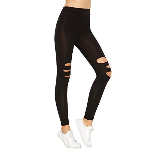 df7d734ae3443d hot sale SweatyRocks Women Legging Black Ripped Skinny Yoga Pants Slim  Tights