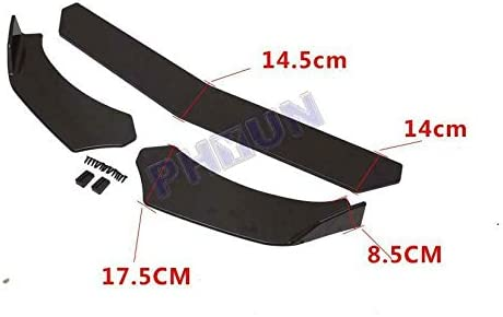 1 Set Universal Widen Lightweight ABS Glossy Black Type C Automotive Front Lip Chin Bumper Protector Body Kits Spoiler Splitter Anti-scratch Sporty Appearance