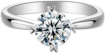 1カラットFカラーVVSパーフェクトカットモアッサナイト 925シルバーア 結婚指輪 (9)