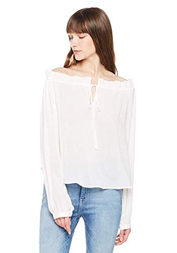 Elise Bloom Women's lace-up Sexy Retro Flowing Crepe DE Chine top White Large