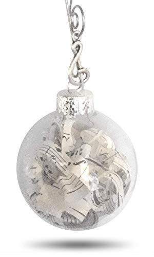 (Vintage Sheet Music Notes in Glass Globe. Adorned with Treble Clef Charm Music Lovers Ornament Decoration with Quote Card and Gift Box)