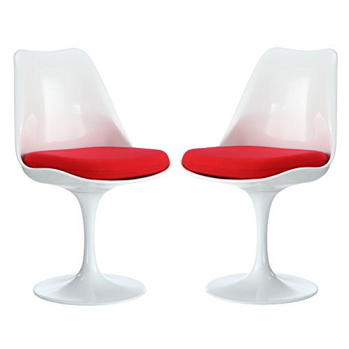 (Modway Lippa Modern Dining Side Chairs With Fabric Cushions in Red - Set of 2)